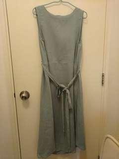 韓國碧綠色棉麻背心長裙 孕婦裙