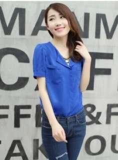 Blue chiffon blouse top
