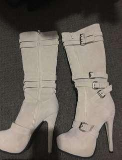 Camel knee high boots, worn once. Size 8