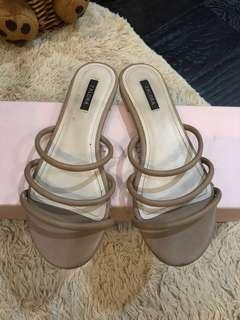 zalora sandal / slides / nude sandal