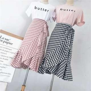 Ruffle Checkered Skirt