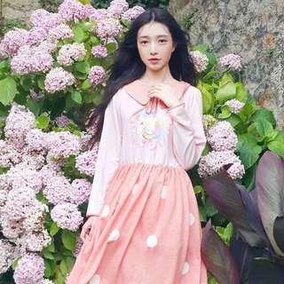 🚚 珊瑚粉紅獨角獸柔軟洋裝