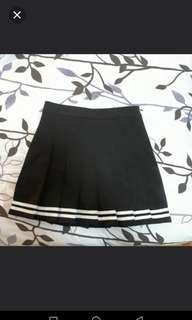 black white double line tennis skirt