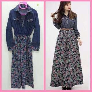 🆕 Jubah Jeans / Denim Long Dress Floral #oct10