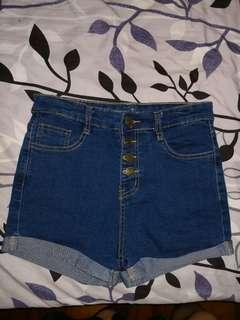 high waist 4 button dark blue denim shorts