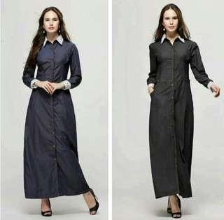 🆕 Jubah / Dress Denim With Lace #oct10