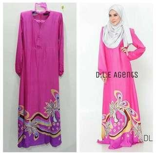 🆕 Jubah Dress Pink Soft Cotton Satin #oct10