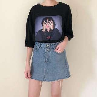 Oversized graphic top