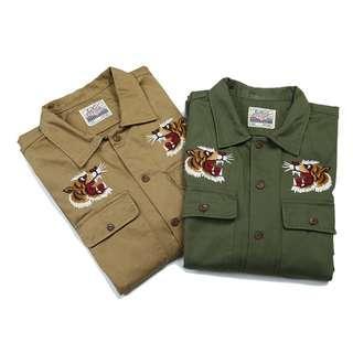 軍事風格大面積電繡襯衫(可當薄夾克) 兩色預購中