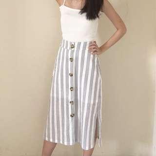 Striped linen skirt