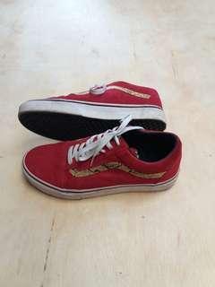 Sepatu vans old skool snake skinn red suede original
