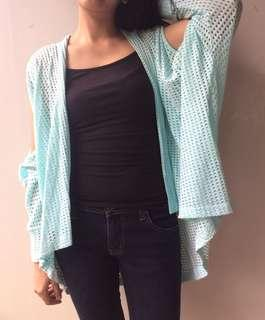 Cold shoulder baby blue cardigan from retail therapy all size jaket unik