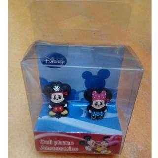 Disney Mickey & Minnie 手機 防塵塞 一對
