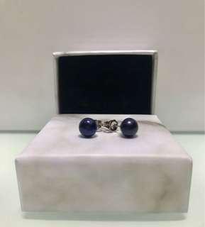 黑藍色 純天然 珍珠耳環 Pearl earrings