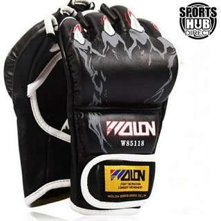 🚚 Free Size Half Finger Gloves UFC Combat Sanda Fighting Punching Bag Boxing PU Leather Gloves - Black + Skeleton Hand