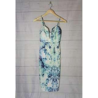 White Galaxy V Plunge Maxi Dress Size 8