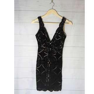 Black Crochet Plunge Backless Bodycon Dress Size 6
