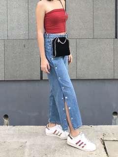 Zara button side jeans