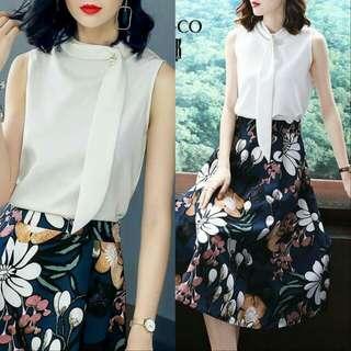 🍃Elegant Formal Blouse and Floral Skirt Ternoset