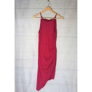 Pink Halter Asymmetrical Maxi Dress Size 6