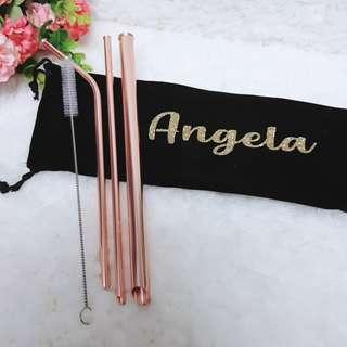 Personalised Name Rose Gold 316 Stainless Steel Straw Set