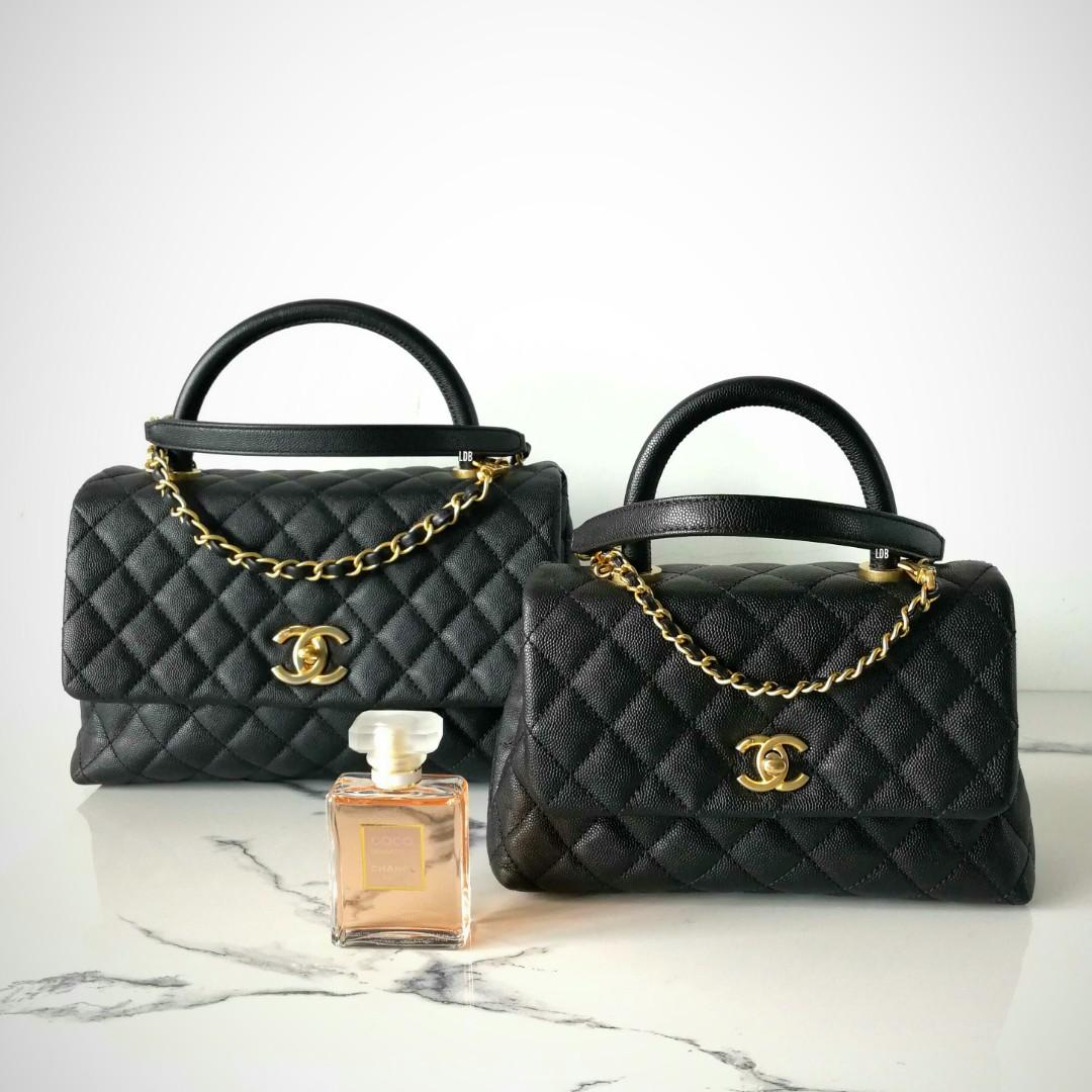 c909f25f200fb Authentic Chanel Coco Handle Medium a92991 28cm Black Caviar Gold ...