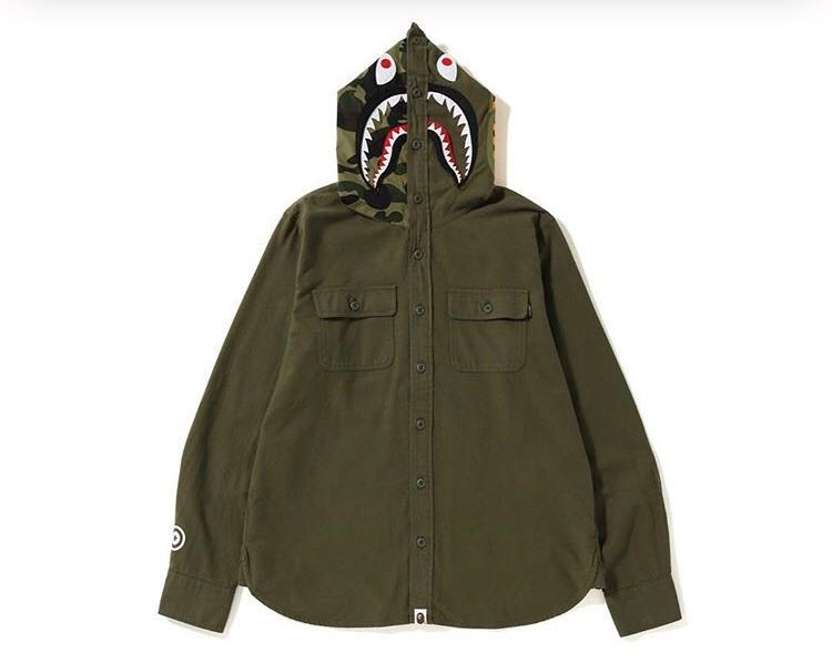5709f332 Bape shark flannel hoodie shirt, Men's Fashion, Clothes, Tops on ...