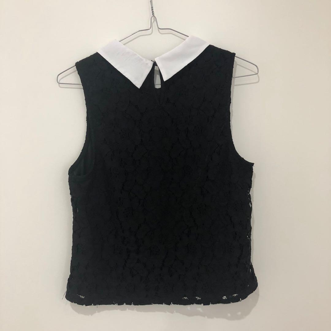 Black lace collared top