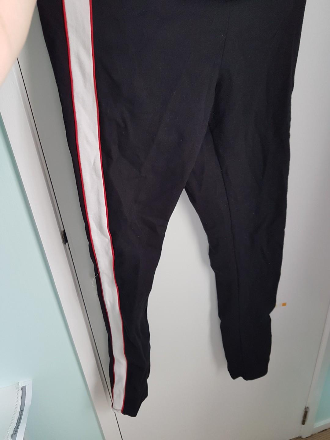 Black striped sweatpants