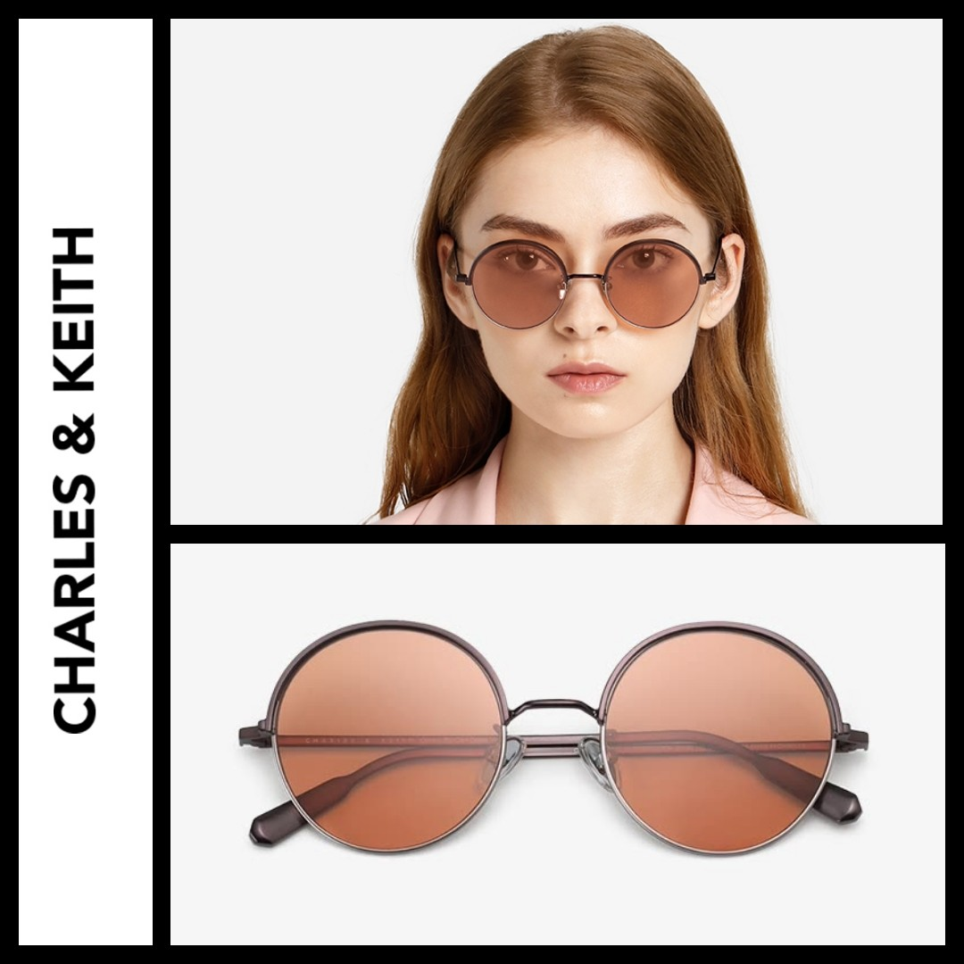 32668ae8afcb Charles And Keith round half frame Sunglasses, Women's Fashion ...