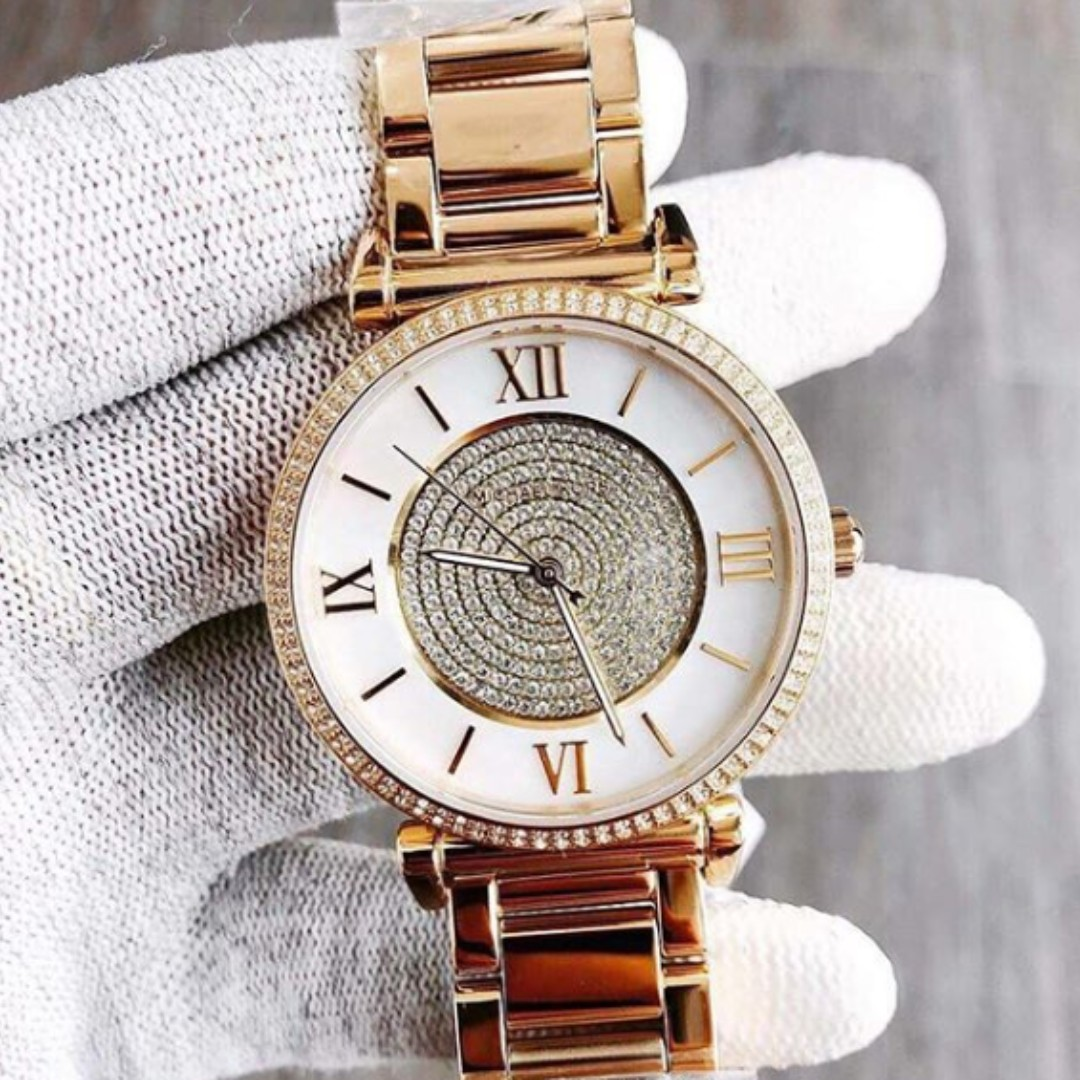 f1bdbe105d9d Michael Kors Caitlin Mother of Pearl Dial Gold-plated Women s Watch ...