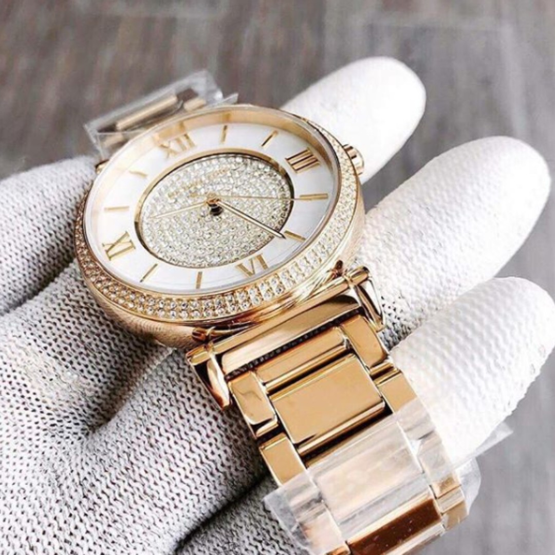 b30219a0a2b7 Michael Kors Caitlin Mother of Pearl Dial Gold-plated Women s Watch - MK3332