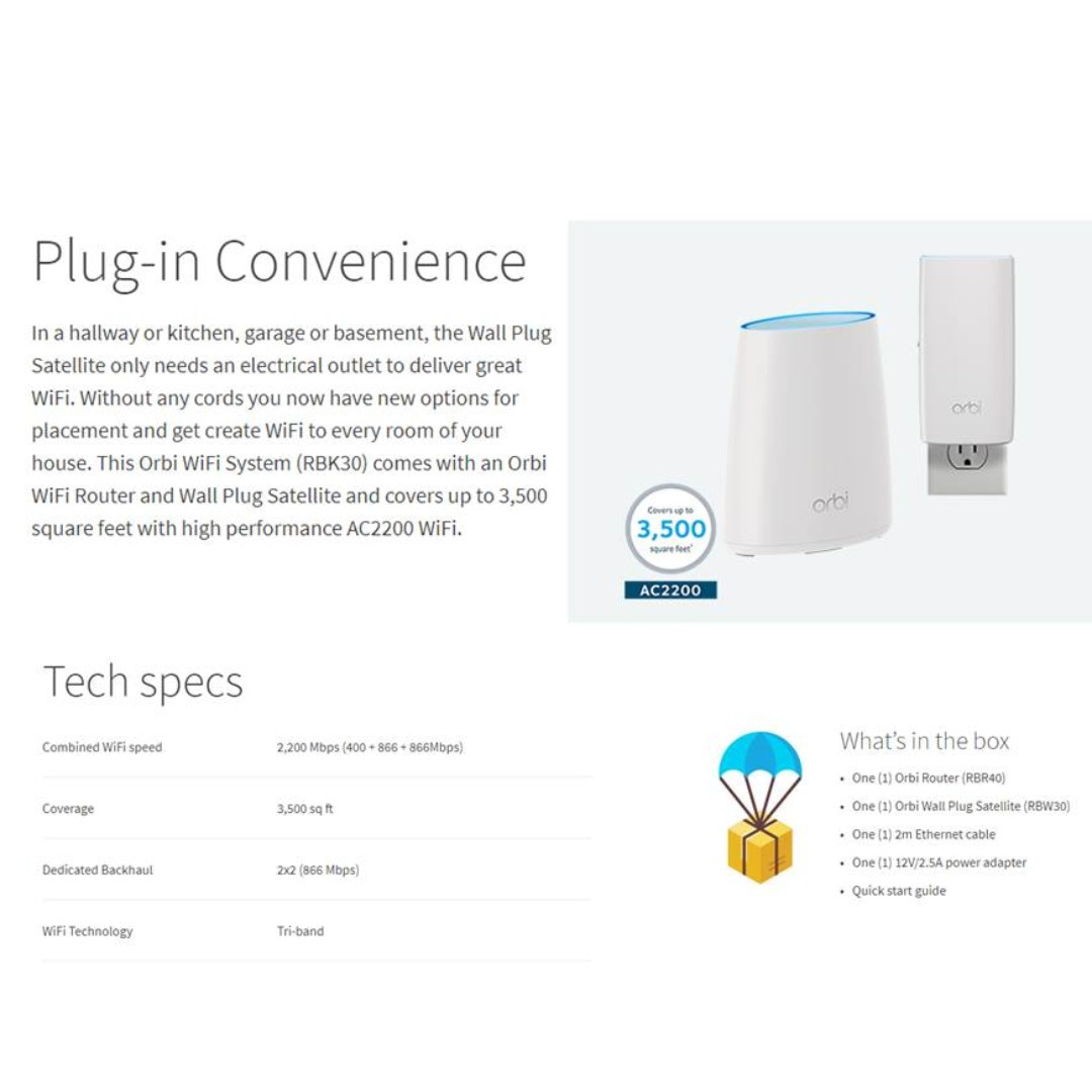 Orbi AC2200 Whole Home Tri-Band WiFi System (RBK30