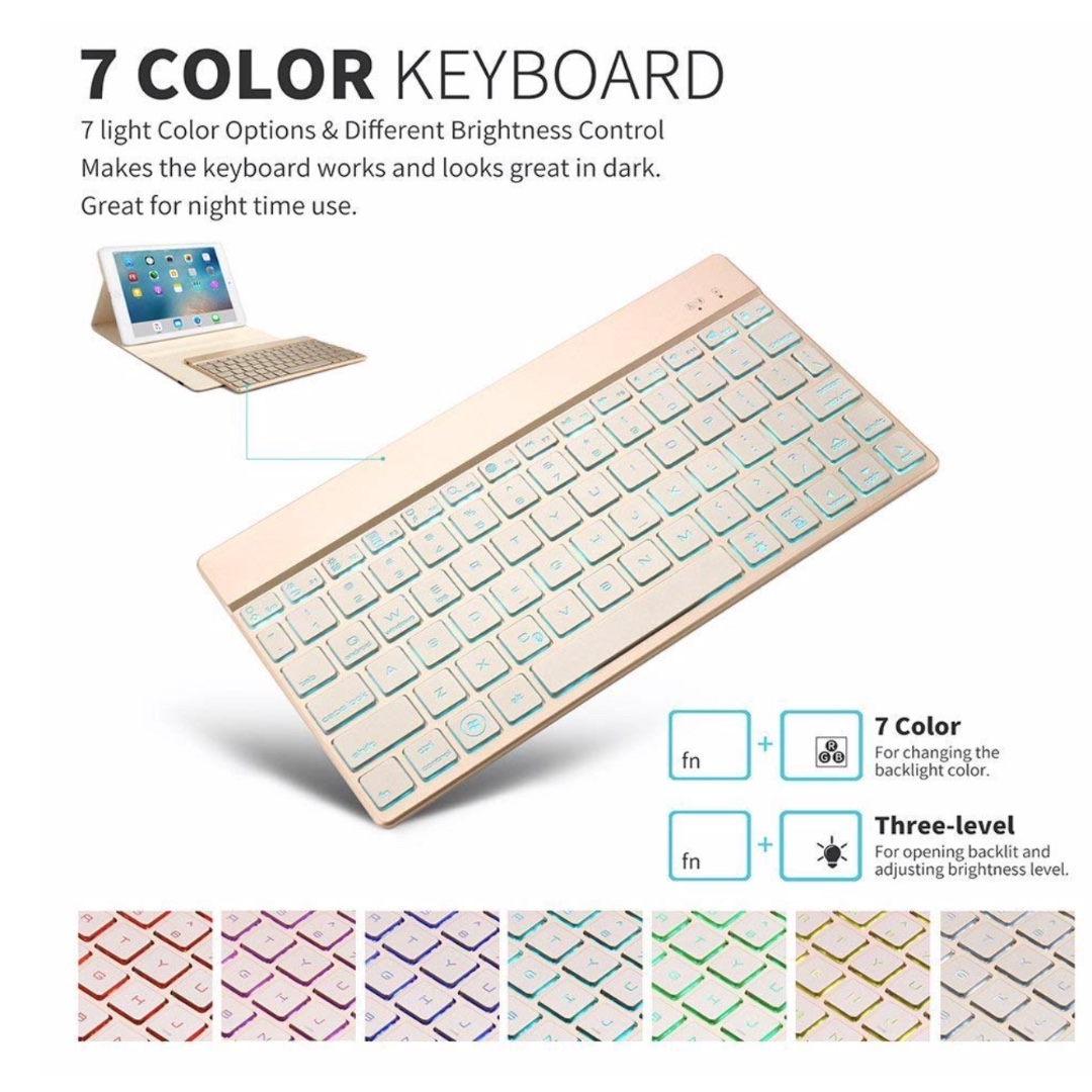 P9 Bluetooth Keyboard, Backlit Wireless Keyboard with 7 Colors Backlight  Ultra Slim Thin Portable Flexible Mobile QWERTY Keyboard for Apple IOS  System