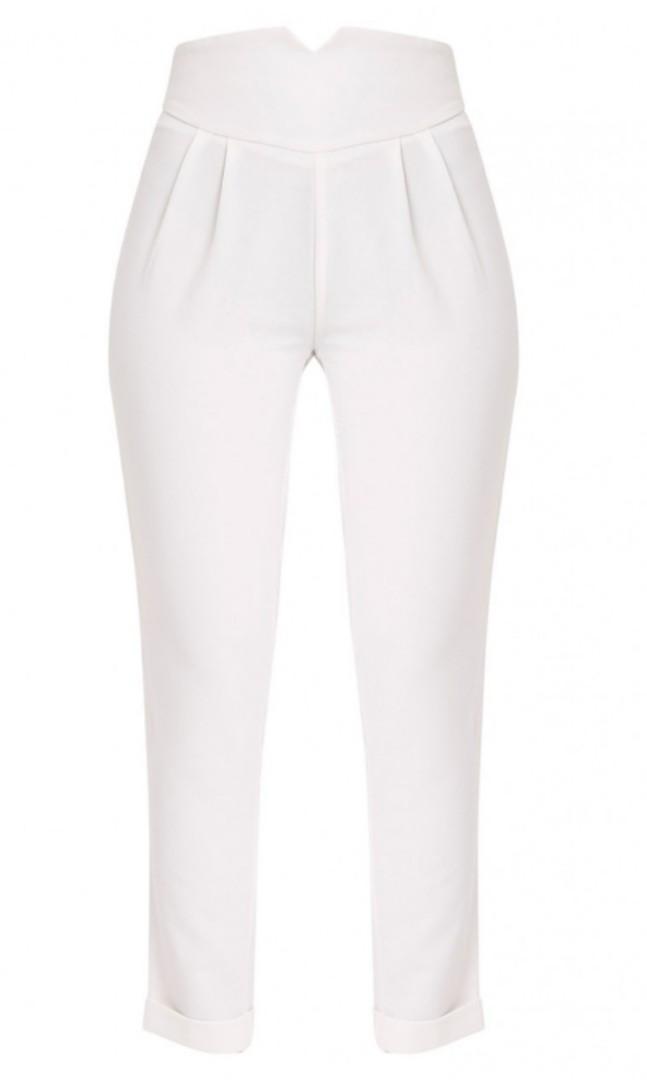 PLT High waist white pants