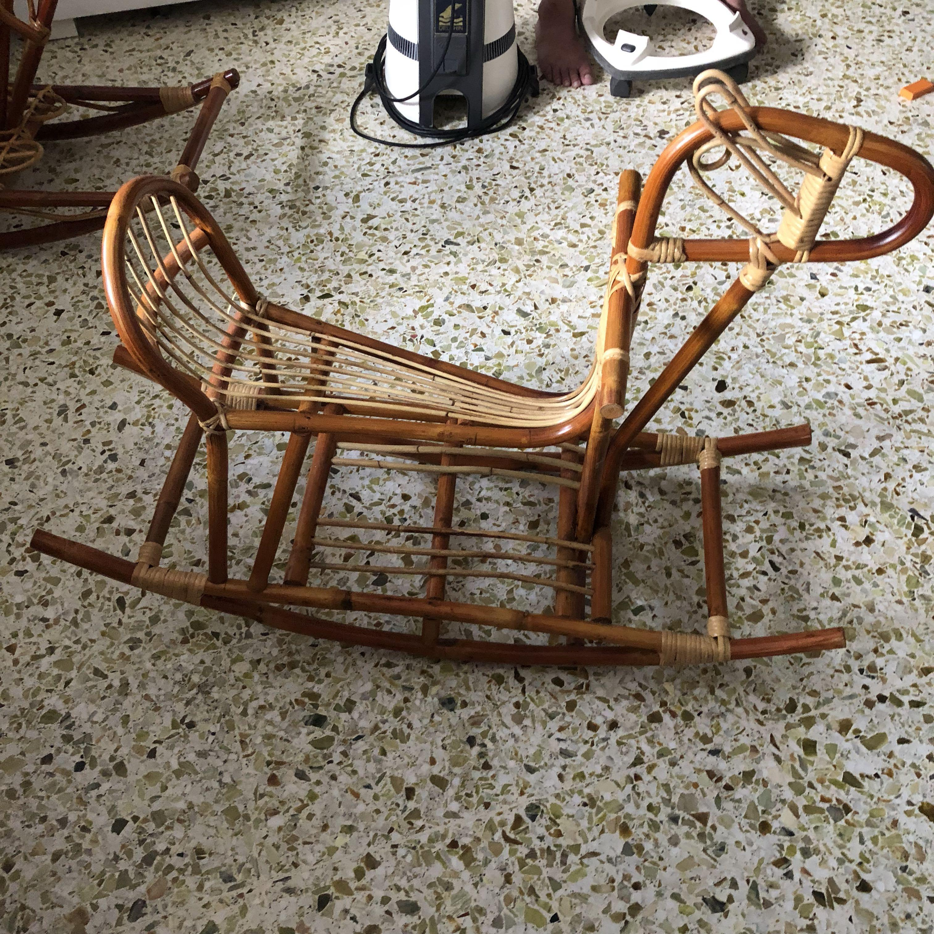 Rattan Rocking Horse Babies Kids Toys Walkers On Carousell