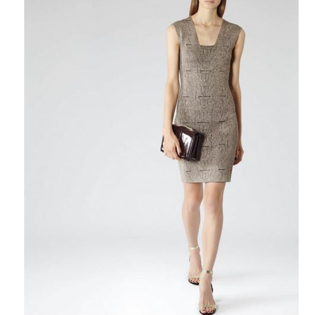 Reiss Alfredo Metallic Bodycon Dress, size 8