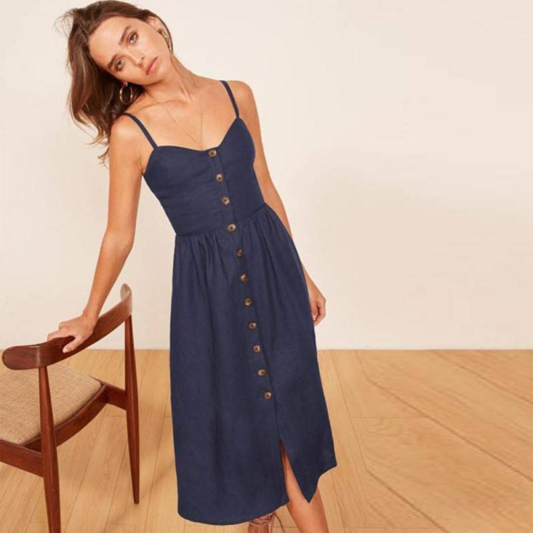 vast selection look out for good texture Sleeveless Button Down Dress on Carousell