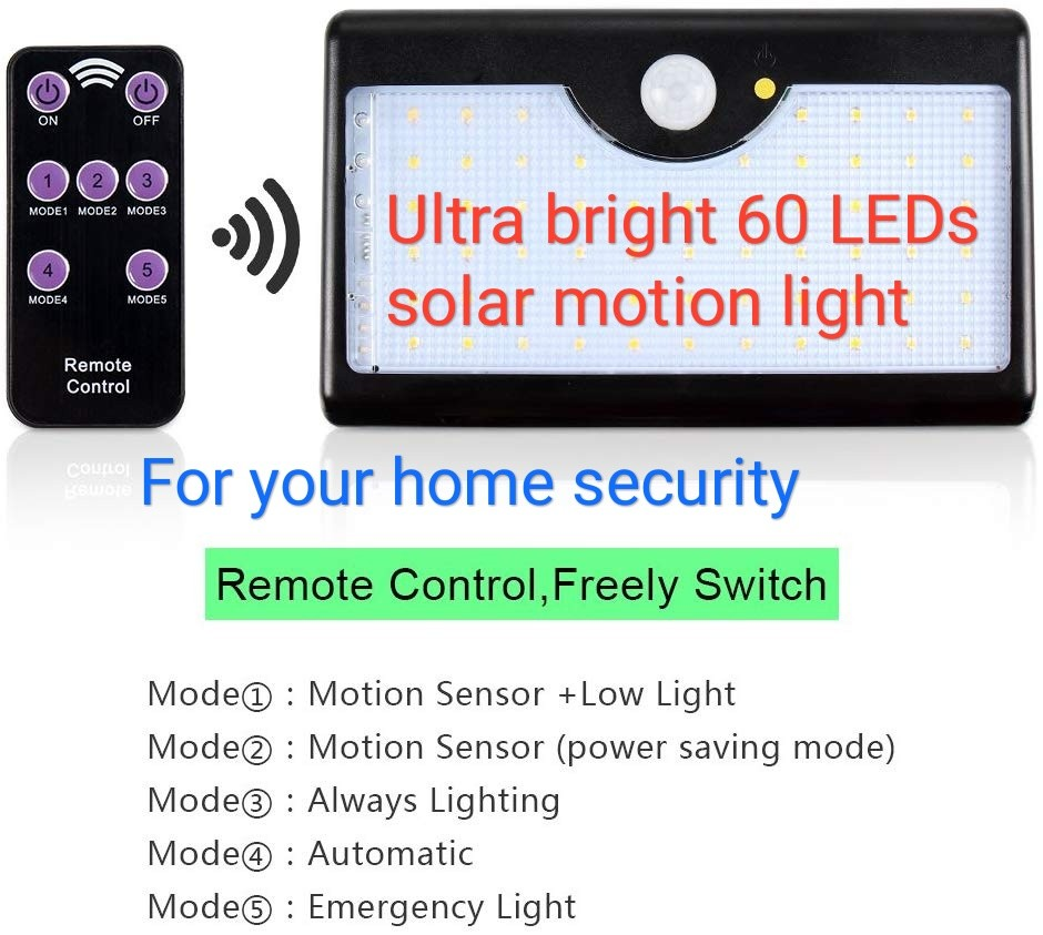 Ultra Bright Solar 60 Leds Wireless Remote Control Lights Automatic Low Power Emergency Light Outdoor Echtpower Motion Sensor 5 Optional Modes With Ip65 Waterproof