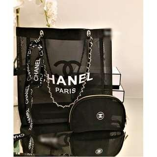 Instock! CHANEL Makeup Chain Strap Mesh Tote Bag (Black - White Logo) *GWP* PO111500188+ FREE Post