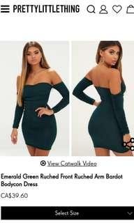 PrettyLittleThing Emerald Green Ruched Front Ruched Arm Bardot Bodycon Dress