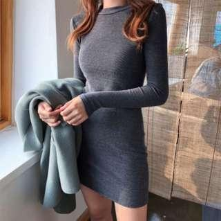 🚚 Grey Knitted Bodycon Dress
