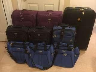 Suitcases/Travel Bags x9 pieces