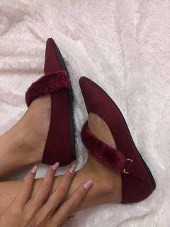 Vincci red fur flat shoes