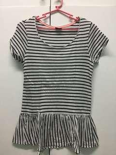 Ginatricot striped peplum top