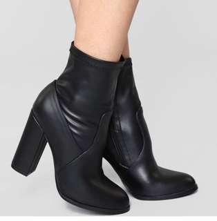 Black - Vegan Leather Sock Booties
