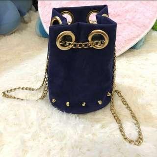 Blue Gold Chain Small Bag