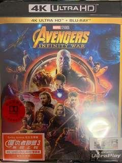 4K Ultra HD+Blu-ray Marvel Avengers Infinity War 復仇者聯盟3無限之戰 雙碟版 中文字幕