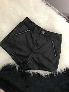 Faux leather high-rise shorts size 1