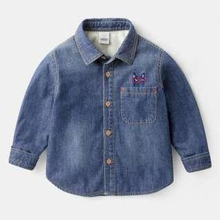 Babybitbit | Baby Boy 長袖繡花牛仔恤衫 + 絨毛底 | B700